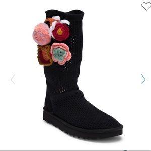 UGG | Black Crochet Boots With Flower Appliqués 7